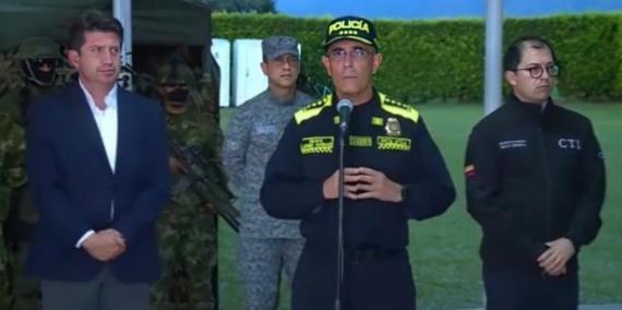 Presidente de la Republica, Ministro de Defensa y Director General de la Policía Nacional rueda de prensa